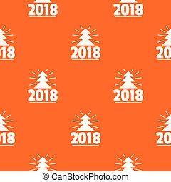 mönster, träd, vektor, apelsin, jul, minimal