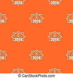 mönster, träd, vektor, retro, apelsin, jul