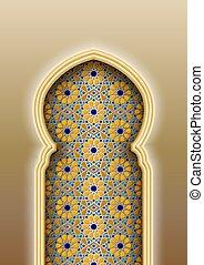 mönster, välva, islamitisk, arabiska, traditionell