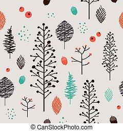 mönster, växt, förtjusande, seamless