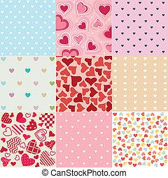 mönster, valentinkort, seamless, dag