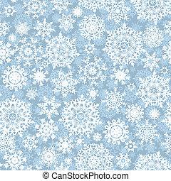 mönster, vektor, flingor, seamless, snö