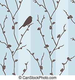 mönster, vektor, seamless, nolla, fågel