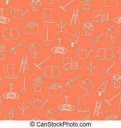 mönster, verktyg, seamless, lantbruk