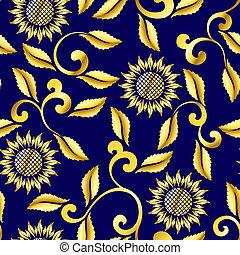 mönster, virvlar, sari, seamless, solros