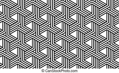 mönster, vit, svart, geometrisk