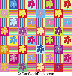 mönster, wth, färgad, blomningen, och, stripes