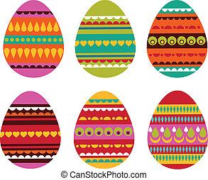 mönstrad, påsk eggar