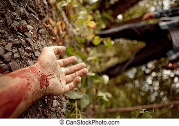 mörder, hand, mitte, ermordet, wald, hintergrund, mannes, ...