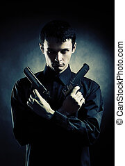 mörder, mit, zwei, pistolen