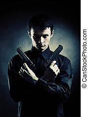 mörder, pistolen, zwei