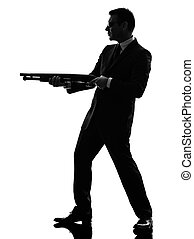 mörder, silhouette, mann