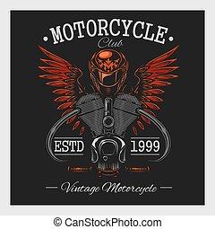 mörk, årgång, print., motorcykel, monokrom
