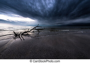 mörk, över, skyn, ocean