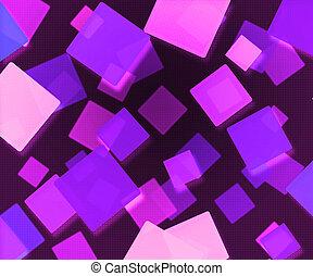 mörk, abstrakt, fyrkanteer, bakgrund, violett