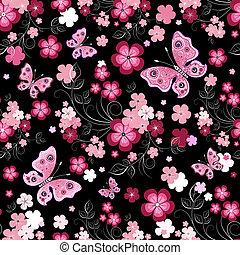 mörk, blommig, seamless, mönster