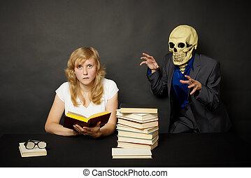 mörk, bok, kvinna, förfärlig, läsning