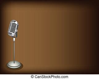 mörk, brun, mikrofon, retro, bakgrund