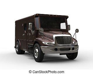 mörk, brun, skåpbil, pansrad, transport
