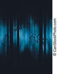 mörk, dimmig, skog
