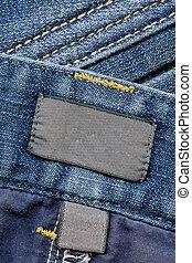 mörk, etiketter, jeans, bomull