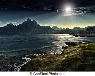 mörk, fantasi, landskap
