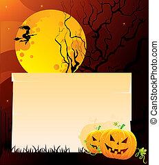 mörk, halloween, baksida