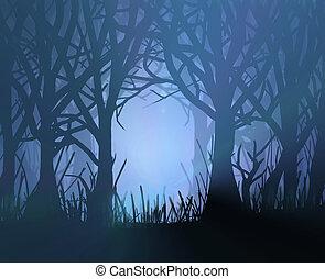 mörk, hemsökt av spöken, forest.