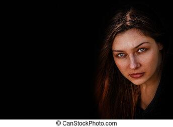 mörk, hemsökt av spöken, kvinna, ont, ansikte