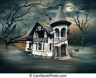 mörk, hus, besatt, atmosphere., horrow