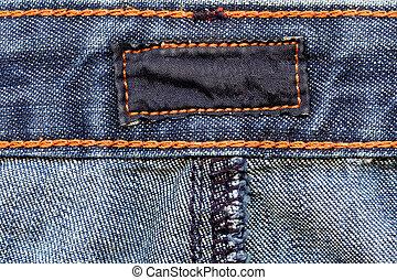 mörk, jeans, etikett