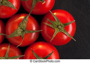 mörk, körsbär tomater, bakgrund.