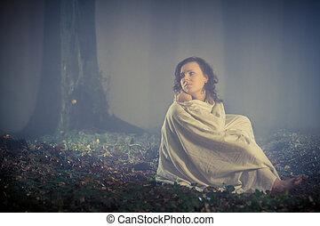 mörk, kvinna, skrämd, ser, skog