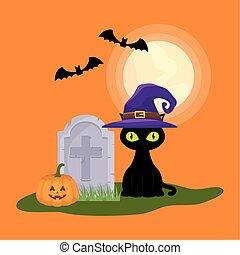 mörk, kyrkogård, halloween scen, katt