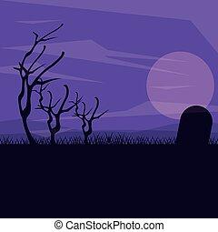 mörk, kyrkogård, silhuett