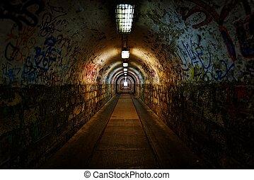 mörk, lätt, undergorund, passage