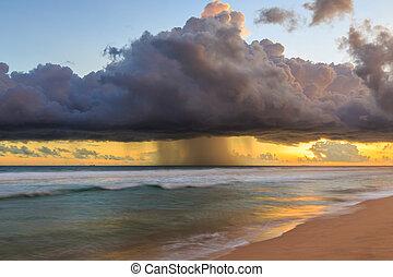 mörk, marinmålning, skyn, solnedgång, regna