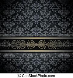 mörk, ornamental, årgång, bakgrund, border.