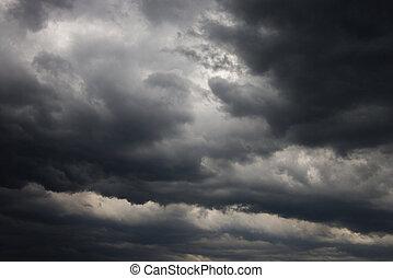 mörk, oväder, clouds.