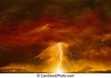 mörk, röd himmel, med, blixt