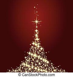 mörk, röd, julkort, med, lysande, gyllene, julgran