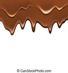 mörk, realistisk, drypande, choklad