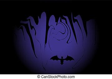 mörk, slagträ, halloween, bakgrund