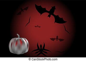 mörk, slagträ, halloween, bakgrund, pumpa