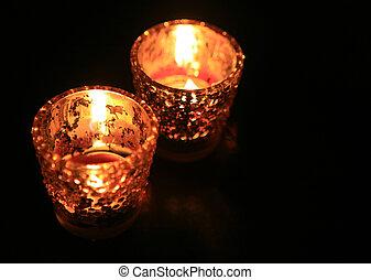 mörk, stearinljus, rum