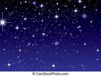mörk, stjärna, utrymme, sky, synhåll