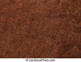 mörk, struktur, av, brun, läder, är, rå