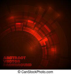 mörk, teknisk, abstrakt, röd fond