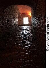 mörk, tunnel., sett upp, a, länge, galleri, insida,...