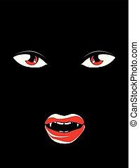 mörk, vampyr, ansikte